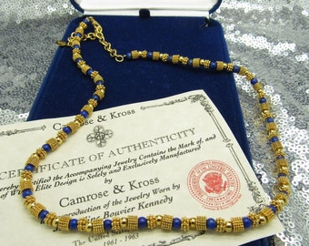 Jackie Kennedy Beaded Necklace - Lapis Gemstone and GP Beads with Box and Certificate