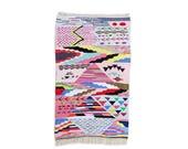"75""X45"" Handwoven moroccan kilim rug, boucherouite rug, handmade rug, geometric pattern, colorful rug, chic ethnic, moroccan decor"