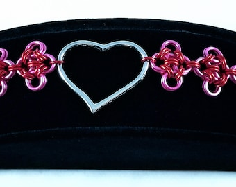 Japanese Lace Chainmaille Bracelet, Heart Jewelry, Homemade Chainmail Jewelry