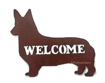 WELSH CORGI Dog Image Welcome Sign made of Rusted Rust Metal