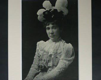 1890s John Oliver Hobbes Print, Pearl Mary Teresa Craigie Portrait Decor, Available Framed, Old Book Art, Literary Gift, Literature Wall Art