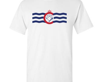 Cincinnati City Flag T Shirt - White