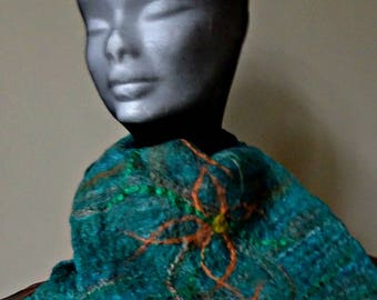 emerald and golden flowered felt scarf