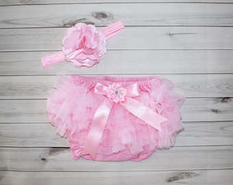 PINK RUFFLED BLOOMER Set-Baby girl photos-Chiffon-Diaper Cover Set-Newborn Photos-Baby Bloomer-Ruffle Diaper Cover-Shabby Chic-Photo Prop
