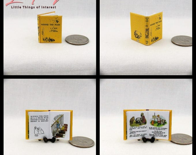 WINNIE THE POOH Miniature Book Dollhouse 1:12 Scale Color Illustrated Readable Book A. A. Milne Bear Christopher Honey