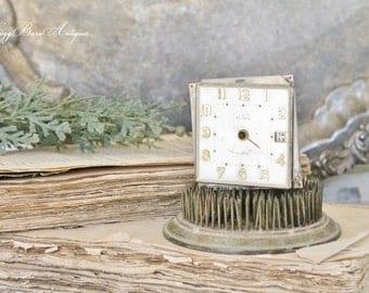 Vintage Clock Face Part Alarm Clock Farmhouse Decor Industrial Salvage Fixer Upper Decor