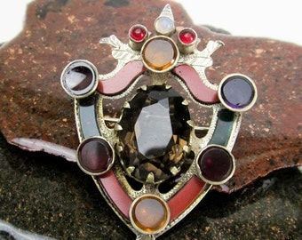 Victorian Scottish Heirloom Cairngorm Jewelry Heraldic Shield Brooch, Antique Sterling Pin Topaz Citrines, Garnets & Opal Highland Sash Pin