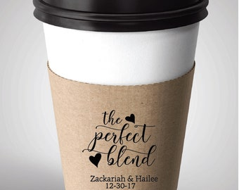 Coffee Sleeve Rubber Stamp, Custom Coffee Sleeve, Wedding Favor Rubber Stamp,  Perfect Blend