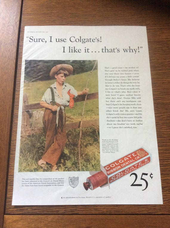 Vintage Colgate ad from 1932 and the other side is a vintage Crisco ad, vintage advertisments, Sure I use Colgates, I like it that's why