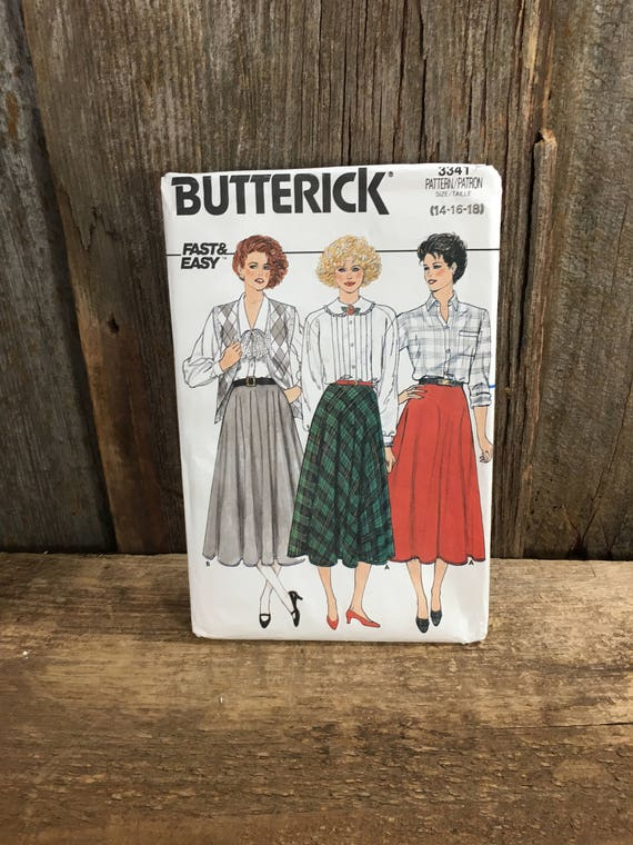 Vintage sewing pattern, Butterick 3341, 1985 uncut sewing pattern skirt, sizes 14, 16, 18, 1980's style sewing pattern, skirt pattern