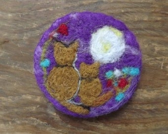 Needle felted brooch badge of  two ginger cats sitting in a field under the moonlight - made to order