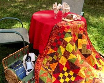 Modern sampler quilt, quilt throw, quilt wallhanging, handmade quilt, fall quilt, lap quilt, Art Quilted Wall Hanging
