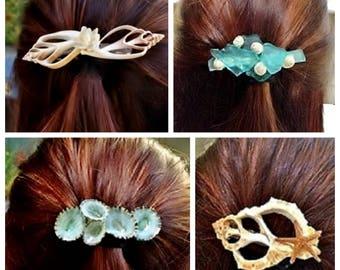 Fashionable Trendy Coastal Beach Inspired Seashell Hair Barrette  - Wedding Accessories supplies