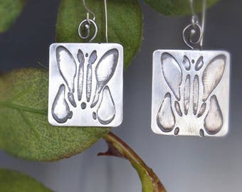 Etched Silver Earrings: Projection 1