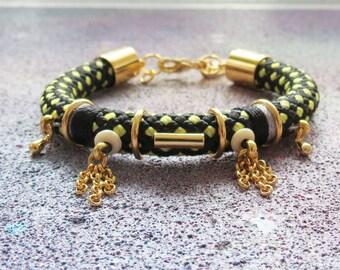 ENKI - statement rope bracelet, ethnic chic bracelet, edgy bracelet, thread wrapped, urban bracelet, rope jewelry, statement jewelry, boho