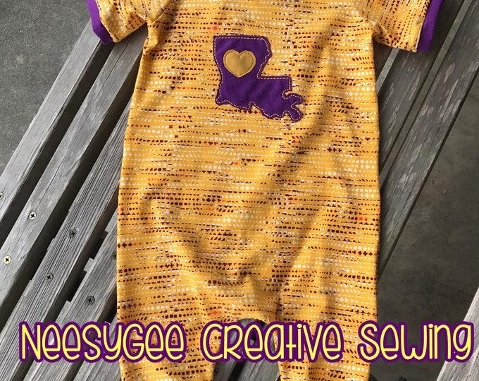 Featured listing image: LSU Romper/LSU/Game Day Romper/ Purple and Gold/ Louisiana/ Love Louisiana/ Gender Neutral Romper/ Football Season Romper/ Harem Romper