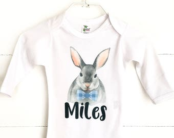 Baby Boy Easter Shirt, Personalized Easter Shirt, Boy Easter Outfit, Dapper Bunny Shirt, Newborn Easter Outfit, Baby Easter Shirt
