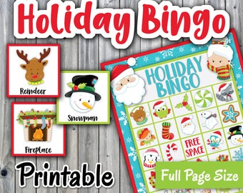 Christmas Bingo Printable PDF - Holiday Bingo - 30 different Cards - Christmas Memory Game - Party Game Printable - INSTANT DOWNLOAD