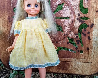 Doll Dress Yellow White Checked Blue Lace Handmade
