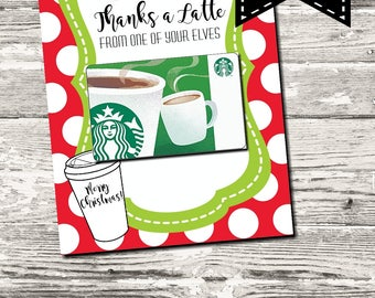 INSTANT DOWNLOAD Thanks A Latte From One of Your Elves Christmas Thank You Card Printable Digital
