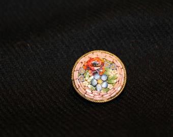 60's Italian Mini Micro Mosaic Flower Brooch-Intricate Italian Micro Mosaic Brooch-Pin-Scarf Brooch-Broche Mini Mosaïque