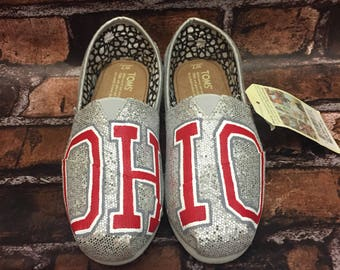 OHIO STATE TOMS [ohio shoes] glitter toms