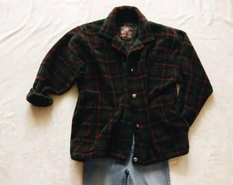 Vintage fleece jacket | vintage plaid fleece button up coat jacket