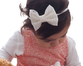 Lace Bow Headband, Lace Headband, Beige Headband, Baby Headband, Lace Bow, Newborn Headband, Baby Girl Headband, Lace Headband, Headband
