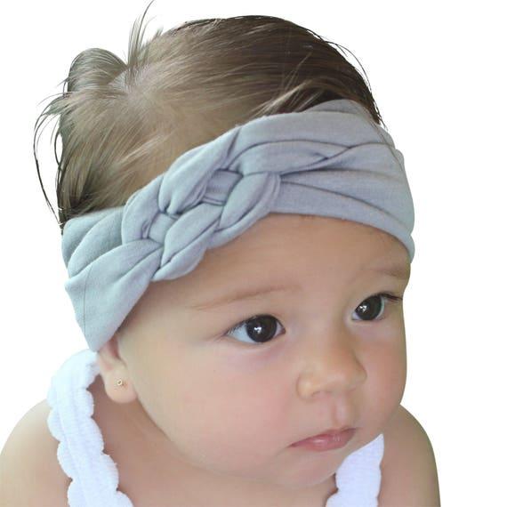 Knot Headband, Gray Head Wrap, Baby Shower Gift, Gray Headband, Gray Turban, Sailor's Knot, Baby Headband, Newborn Headband