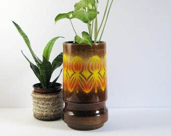 Vintage Ceramic Vase - Poole England Aegean 84 - Orange and Brown Speckled Glaze - Collectible Pottery - Mid Century Modern Home Decor