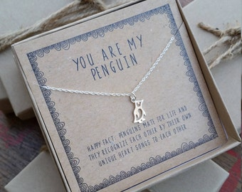 Girlfriend gift etsy ready 2 ship you are my penguin necklace silver layering necklace penguin gift for negle Image collections