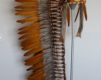 Z35 - Extra Large Ocher color Feather Headdress (43 inch long )