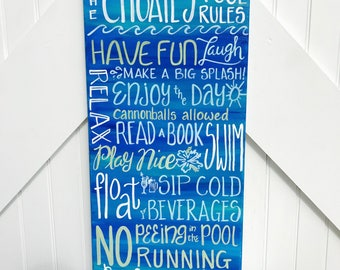 pool rules sign custom pool sign 12x24 swimming pool sign made to order - Pool Signs