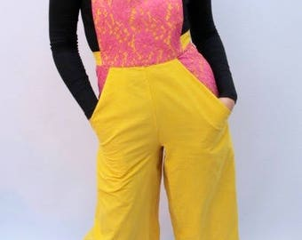 Yellow corduroy dungarees with hot pink lace UK size 10-12 culotte trousers dungaree jumpsuit handmade by The Emperor's Old Clothes