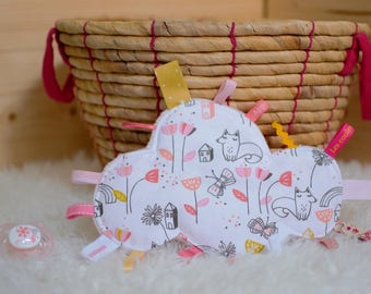 Doudou labels cloud foxes, houses, flowers, butterfly - white, light pink, coral, yellow - gift - baby 3-12 months