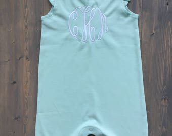 Mint Green Monogrammed Baby Romper - Size 3-6 months, 6-12 mo, 12-18 mo - Great baby shower gift!