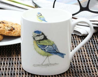 Blue Tit Mug - Fine Bone China, Gift for Bird Lovers, Country Kitchen, New Home Gift