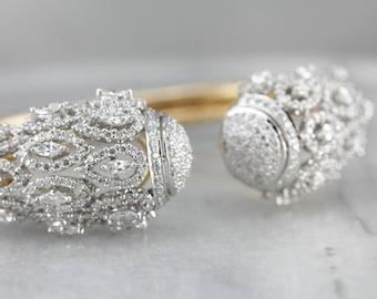 Diamond Encrusted Gold Cuff Bracelet, Pave Diamond Bangle R84E3QJ0-P