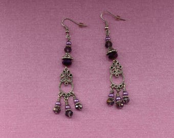 Silver and Purple 3 Strand Beaded Drop Earrings - Purple Pearl and Crystal Beaded Small Silver Charm Earrings