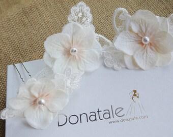Ivory Cream Blush Bridal Headpiece,  Flower Hair Pins ,Vintage Inspired Bridal Hair Piece, Lace headpiece, Wedding hairpiece