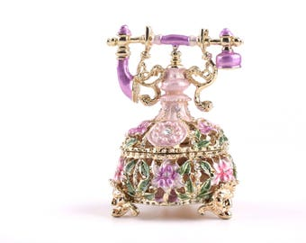 Golden Vintage Telephone Decorated with Swarovski Crystals Trinket Box by Keren Kopal Faberge Style Home Decor