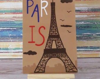 """Eiffel tower  """"Paris""""  France souvenir illustrated postcard"""