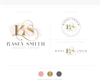 sexy emblem Premade Branding Kit, Photography Logo Watermark, Handwritten initials, Gold Initials Signature / Rose Gold Logo Design Stamp