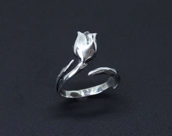 Tulip Ring In Sterling Silver, Silver Tulip Ring, Flower Ring, Adjustable Ring, Tulip Wedding Ring, 925 Sterling Silver Ring, Floral Ring