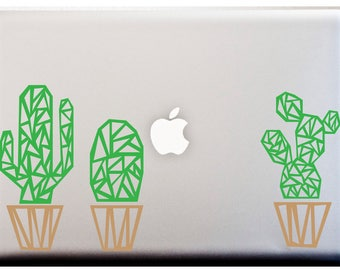 GEOMETRIC CACTUS Potted Cacti Decal LAPTOP or Car Decal Succulent Stickers