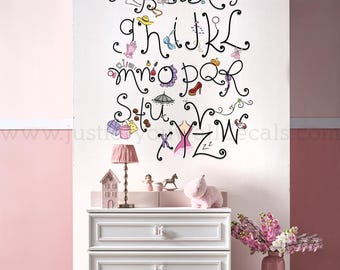 Alphabet Wall Decal, Playroom Wall Decal, Nursery Wall Decal, Alphabet Decal, Alphabet Nursery Art, Nursery Wall Art, Alphabet Art - 01-0040