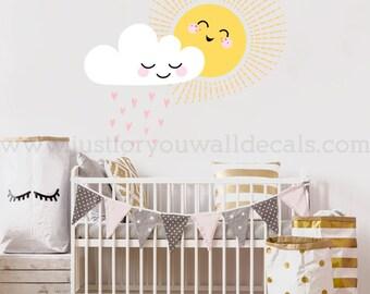 Sun Cloud Wall Decal, Wall Decal, Nursery Wall Decal, Wall Decals Nursery, Nursery Wall Art, Wall Decal Kids, Wall Decals Nursery 08-0001