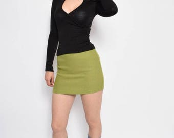 Vintage 90's Lime Green Wool Mini Skirt - Size Extra Small