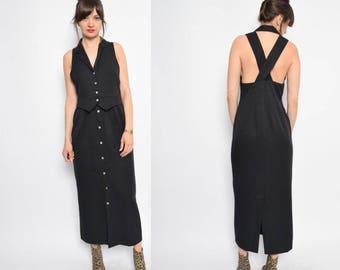 Vintage 90's Black Button Maxi Dress - Size Medium
