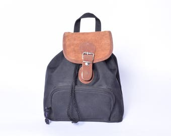 Vintage 90's Black Canvas Mini Backpack / Brown Suede Leather and Canvas Backpack